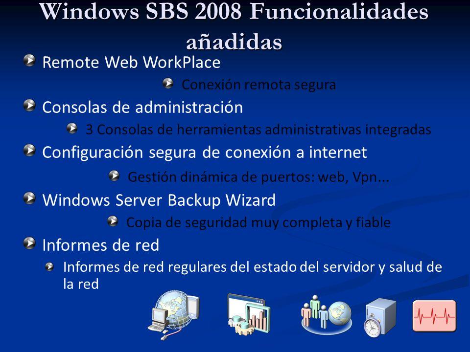 Windows SBS 2008 Funcionalidades añadidas Remote Web WorkPlace Conexión remota segura Consolas de administración 3 Consolas de herramientas administra