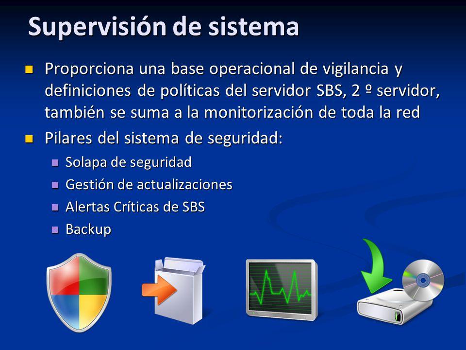 Supervisión de sistema Proporciona una base operacional de vigilancia y definiciones de políticas del servidor SBS, 2 º servidor, también se suma a la