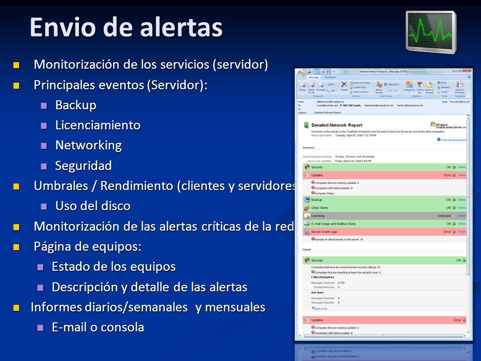 Envio de alertas Monitorización de los servicios (servidor) Monitorización de los servicios (servidor) Principales eventos (Servidor): Principales eve
