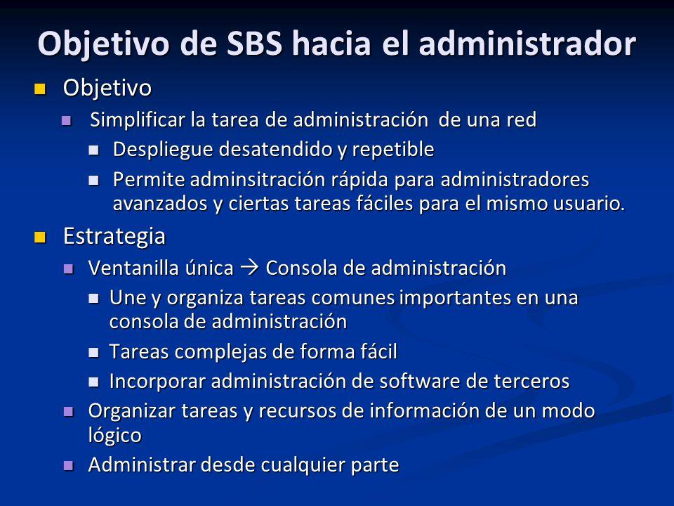 Objetivo de SBS hacia el administrador Objetivo Objetivo Simplificar la tarea de administración de una red Simplificar la tarea de administración de u