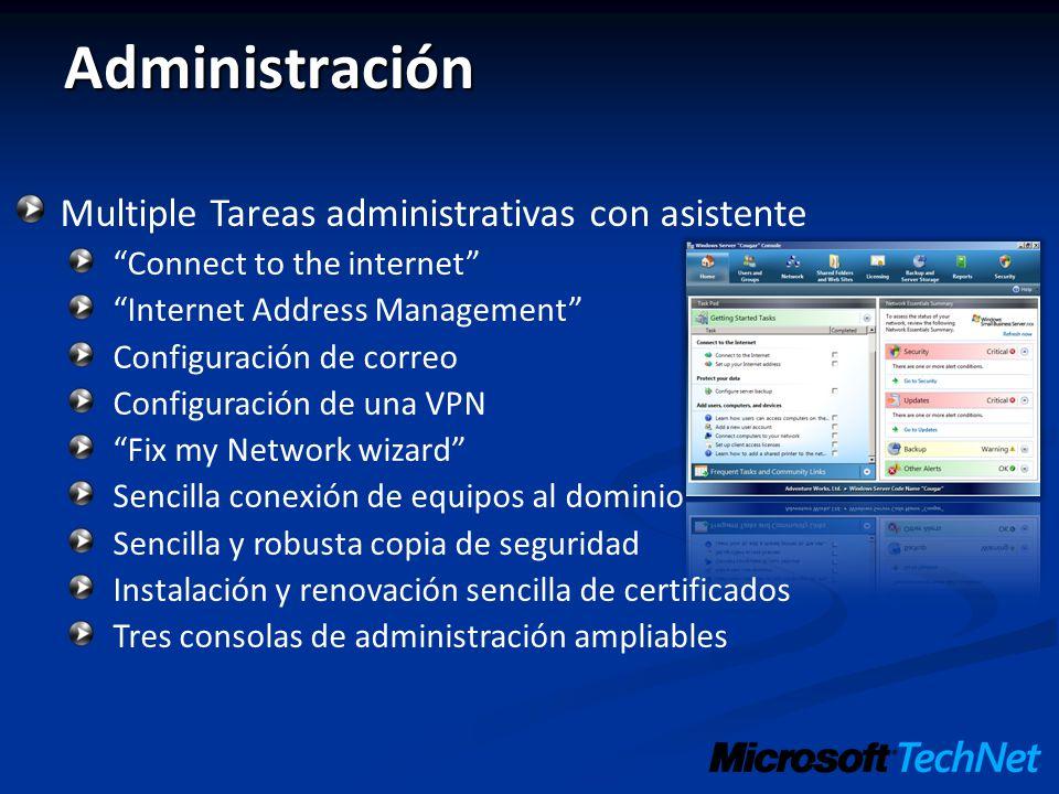 Administración Multiple Tareas administrativas con asistente Connect to the internet Internet Address Management Configuración de correo Configuración