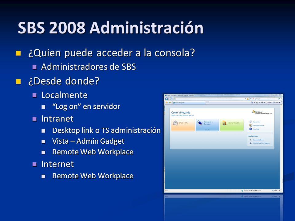 ¿Quien puede acceder a la consola? ¿Quien puede acceder a la consola? Administradores de SBS Administradores de SBS ¿Desde donde? ¿Desde donde? Localm