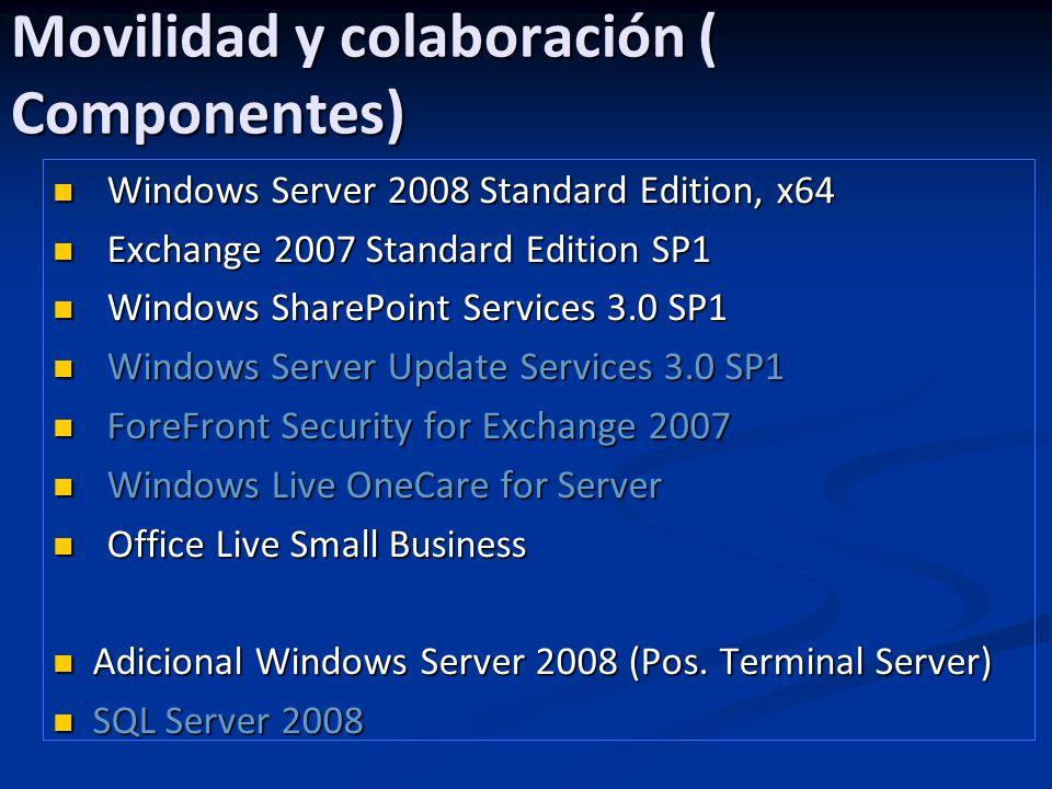 Movilidad y colaboración ( Componentes) Windows Server 2008 Standard Edition, x64 Windows Server 2008 Standard Edition, x64 Exchange 2007 Standard Edi