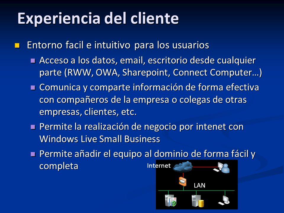 Experiencia del cliente Entorno facil e intuitivo para los usuarios Entorno facil e intuitivo para los usuarios Acceso a los datos, email, escritorio