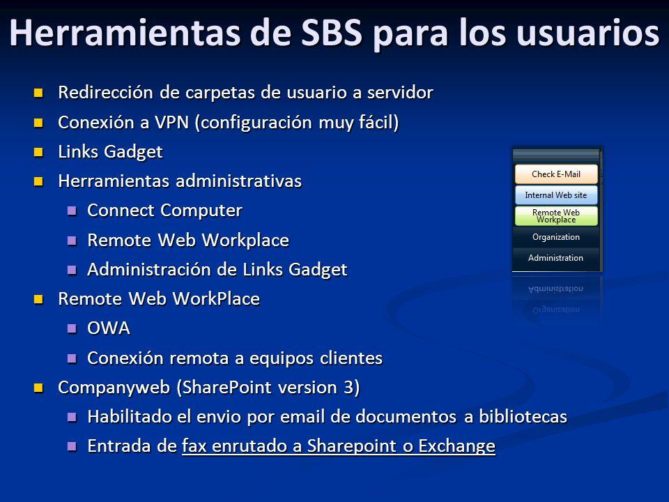 Herramientas de SBS para los usuarios Redirección de carpetas de usuario a servidor Redirección de carpetas de usuario a servidor Conexión a VPN (conf