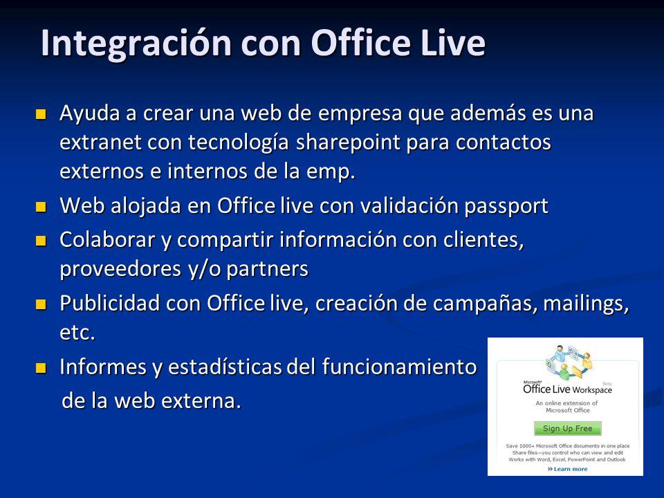 Integración con Office Live Ayuda a crear una web de empresa que además es una extranet con tecnología sharepoint para contactos externos e internos d
