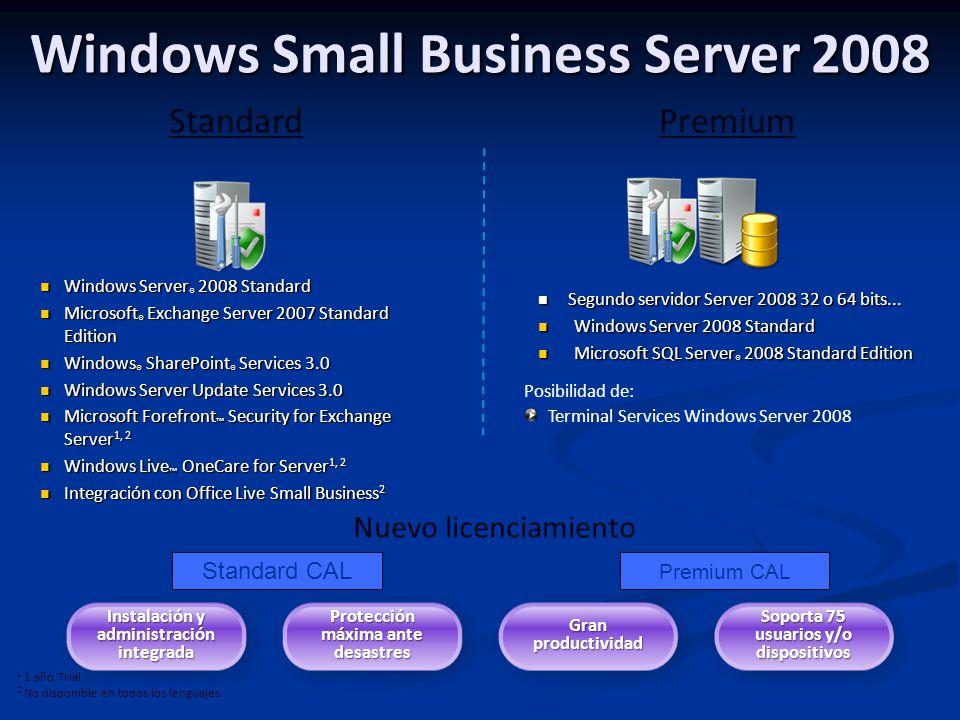 Windows Small Business Server 2008 Windows Server ® 2008 Standard Windows Server ® 2008 Standard Microsoft ® Exchange Server 2007 Standard Edition Mic