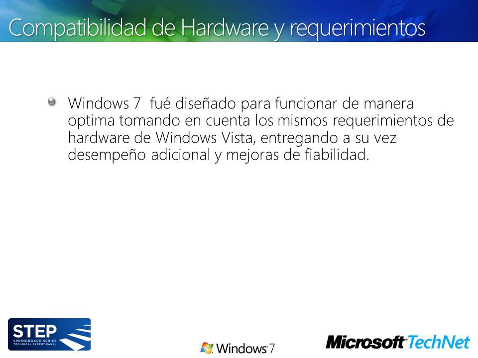 Windows 7 fué diseñado para funcionar de manera optima tomando en cuenta los mismos requerimientos de hardware de Windows Vista, entregando a su vez d