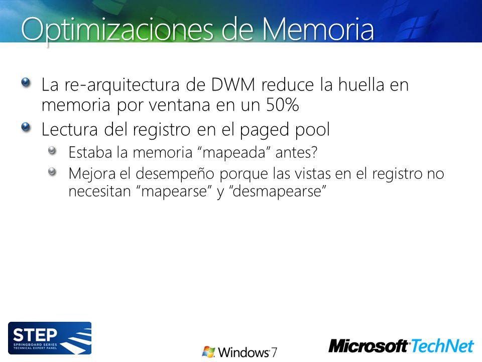 Optimizaciones de Memoria La re-arquitectura de DWM reduce la huella en memoria por ventana en un 50% Lectura del registro en el paged pool Estaba la