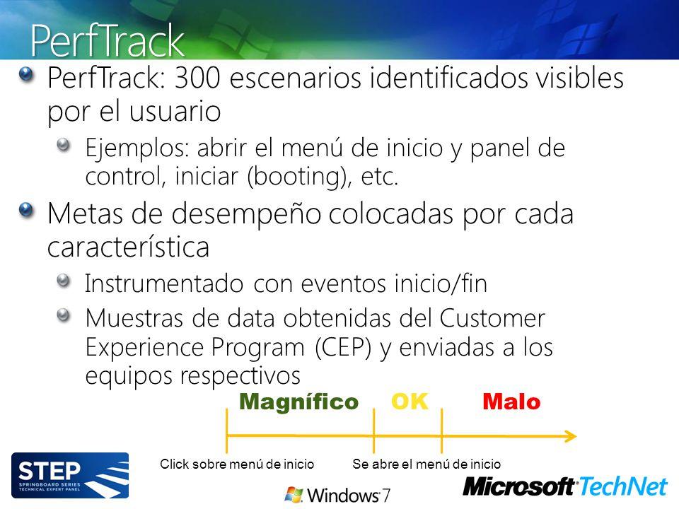 PerfTrack PerfTrack: 300 escenarios identificados visibles por el usuario Ejemplos: abrir el menú de inicio y panel de control, iniciar (booting), etc