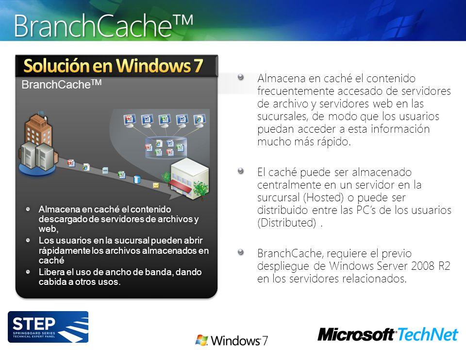 BranchCache TM Almacena en caché el contenido descargado de servidores de archivos y web, Los usuarios en la sucursal pueden abrir rápidamente los arc