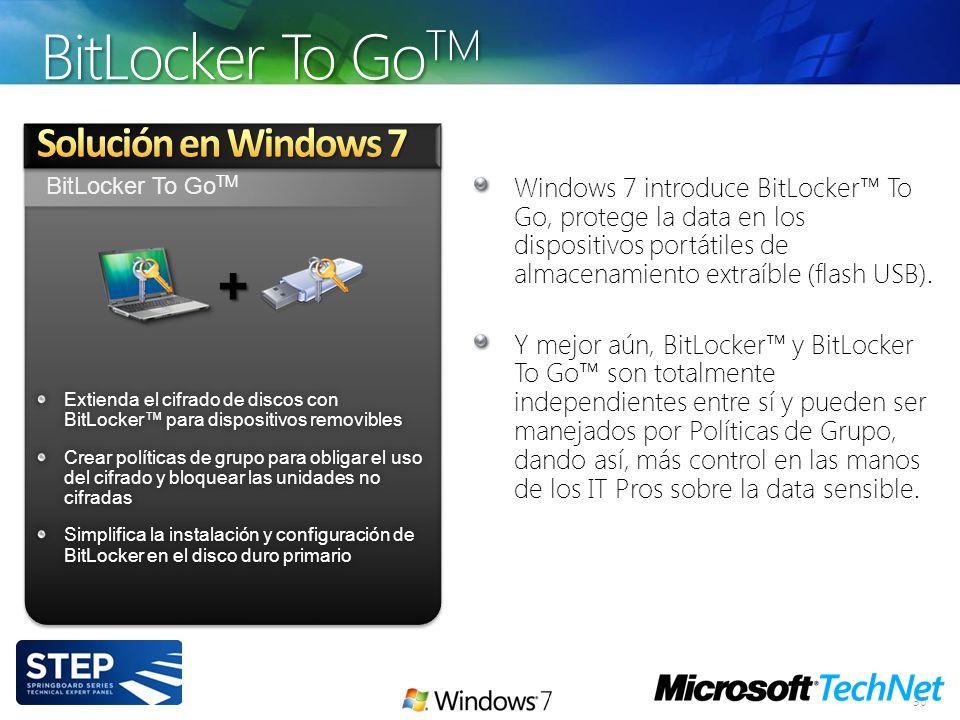 BitLocker To Go TM 30 Extienda el cifrado de discos con BitLocker para dispositivos removibles Crear políticas de grupo para obligar el uso del cifrad