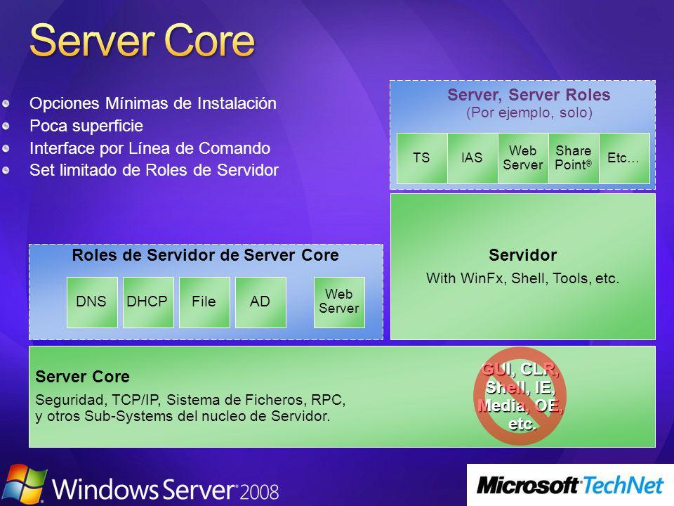 Opciones Mínimas de Instalación Poca superficie Interface por Línea de Comando Set limitado de Roles de Servidor Roles de Servidor de Server Core Server Core Seguridad, TCP/IP, Sistema de Ficheros, RPC, y otros Sub-Systems del nucleo de Servidor.