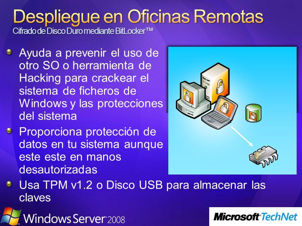 Ayuda a prevenir el uso de otro SO o herramienta de Hacking para crackear el sistema de ficheros de Windows y las protecciones del sistema Proporciona protección de datos en tu sistema aunque este este en manos desautorizadas Usa TPM v1.2 o Disco USB para almacenar las claves