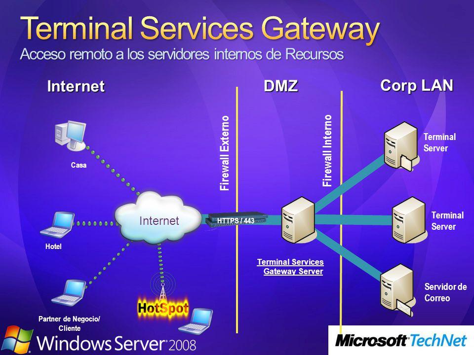 DMZ Internet Corp LAN Terminal Server Hotel Firewall Externo Firewall Interno Casa Partner de Negocio/ Cliente Servidor de Correo Terminal Server Internet Terminal Services Gateway Server HTTPS / 443