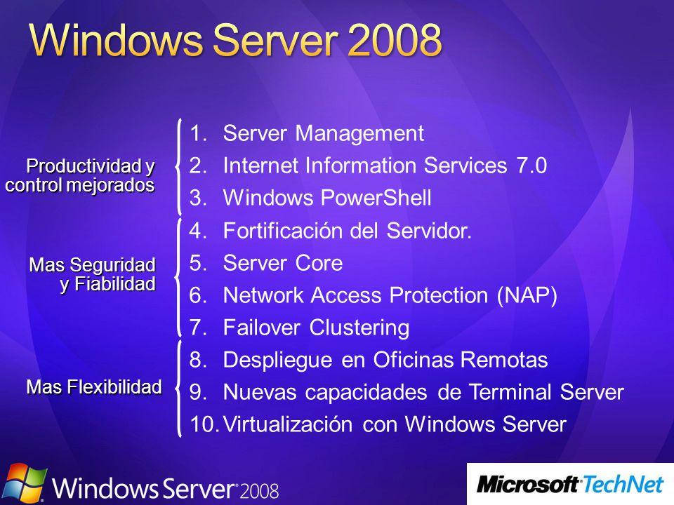 Productividad y control mejorados Mas Flexibilidad Mas Seguridad y Fiabilidad Server Management Internet Information Services 7.0 Windows PowerShell Fortificación del Servidor.