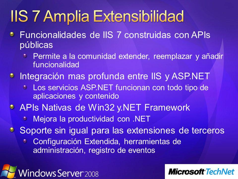 Funcionalidades de IIS 7 construidas con APIs públicas Permite a la comunidad extender, reemplazar y añadir funcionalidad Integración mas profunda entre IIS y ASP.NET Los servicios ASP.NET funcionan con todo tipo de aplicaciones y contenido APIs Nativas de Win32 y.NET Framework Mejora la productividad con.NET Soporte sin igual para las extensiones de terceros Configuración Extendida, herramientas de administración, registro de eventos