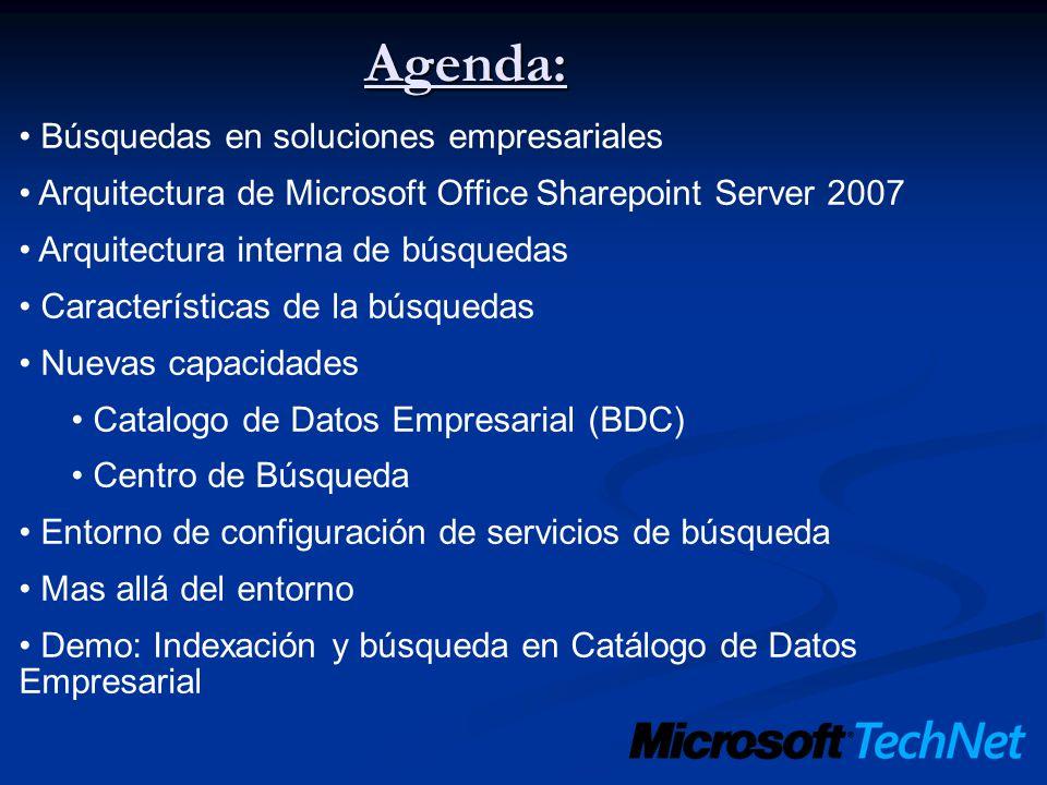 Agenda: Búsquedas en soluciones empresariales Arquitectura de Microsoft Office Sharepoint Server 2007 Arquitectura interna de búsquedas Características de la búsquedas Nuevas capacidades Catalogo de Datos Empresarial (BDC) Centro de Búsqueda Entorno de configuración de servicios de búsqueda Mas allá del entorno Demo: Indexación y búsqueda en Catálogo de Datos Empresarial