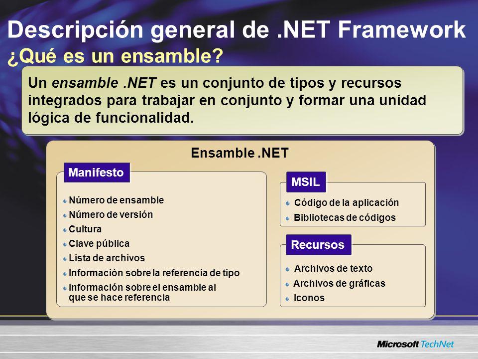 Descripción general de.NET Framework ¿Qué es un ensamble? Un ensamble.NET es un conjunto de tipos y recursos integrados para trabajar en conjunto y fo