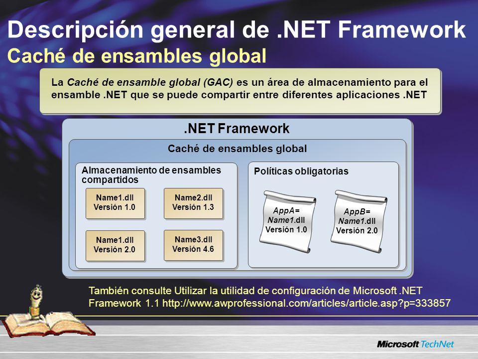 Descripción general de.NET Framework Caché de ensambles global.NET Framework Caché de ensambles global Almacenamiento de ensambles compartidos Name1.dll Versión 1.0 Name1.dll Versión 1.0 Name3.dll Versión 4.6 Name3.dll Versión 4.6 Name1.dll Versión 2.0 Name1.dll Versión 2.0 Políticas obligatorias AppA= Name1.dll Versión 1.0 La Caché de ensamble global (GAC) es un área de almacenamiento para el ensamble.NET que se puede compartir entre diferentes aplicaciones.NET Name2.dll Versión 1.3 Name2.dll Versión 1.3 AppB= Name1.dll Versión 2.0 También consulte Utilizar la utilidad de configuración de Microsoft.NET Framework 1.1 http://www.awprofessional.com/articles/article.asp?p=333857