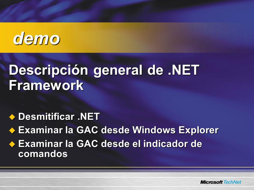 Descripción general de.NET Framework Descripción general de.NET Framework Desmitificar.NET Desmitificar.NET Examinar la GAC desde Windows Explorer Examinar la GAC desde Windows Explorer Examinar la GAC desde el indicador de comandos Examinar la GAC desde el indicador de comandos demo demo
