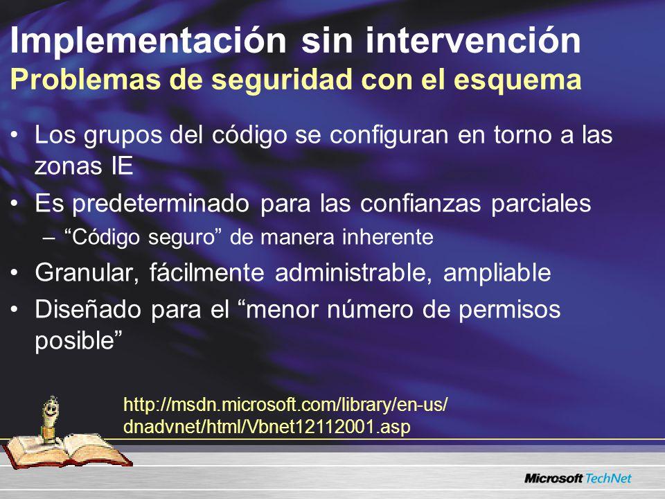 Implementación sin intervención Problemas de seguridad con el esquema Los grupos del código se configuran en torno a las zonas IE Es predeterminado pa