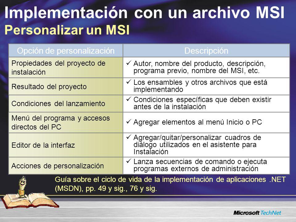 Implementación con un archivo MSI Personalizar un MSI Guía sobre el ciclo de vida de la implementación de aplicaciones.NET (MSDN), pp. 49 y sig., 76 y