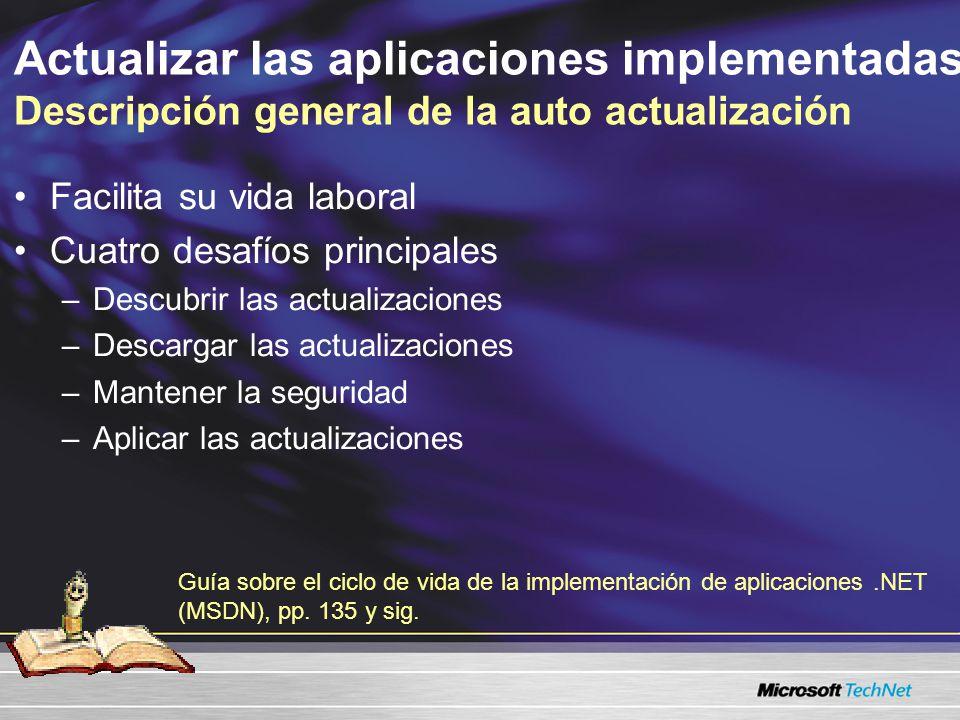 Actualizar las aplicaciones implementadas Descripción general de la auto actualización Facilita su vida laboral Cuatro desafíos principales –Descubrir