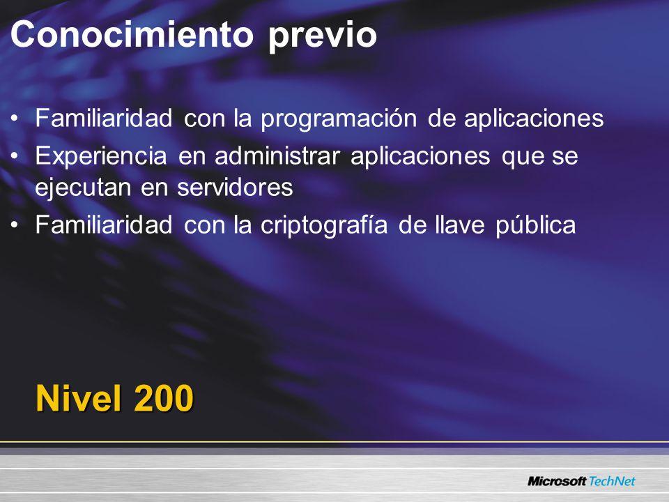 Conocimiento previo Nivel 200 Familiaridad con la programación de aplicaciones Experiencia en administrar aplicaciones que se ejecutan en servidores Familiaridad con la criptografía de llave pública