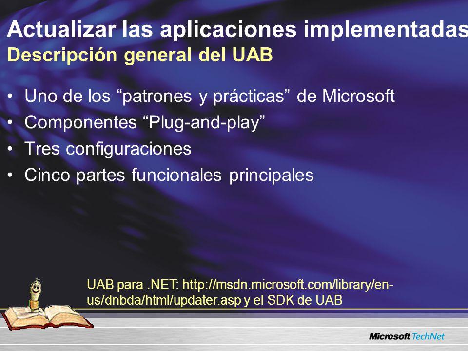 Actualizar las aplicaciones implementadas Descripción general del UAB Uno de los patrones y prácticas de Microsoft Componentes Plug-and-play Tres configuraciones Cinco partes funcionales principales UAB para.NET: http://msdn.microsoft.com/library/en- us/dnbda/html/updater.asp y el SDK de UAB