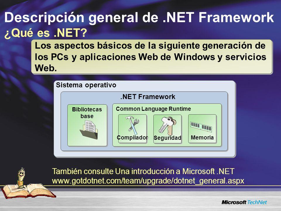 Sistema operativo.NET Framework Descripción general de.NET Framework ¿Qué es.NET? También consulte Una introducción a Microsoft.NET www.gotdotnet.com/