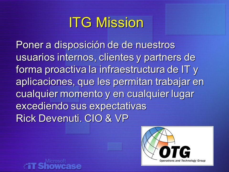 ITG Mission Poner a disposición de de nuestros usuarios internos, clientes y partners de forma proactiva la infraestructura de IT y aplicaciones, que