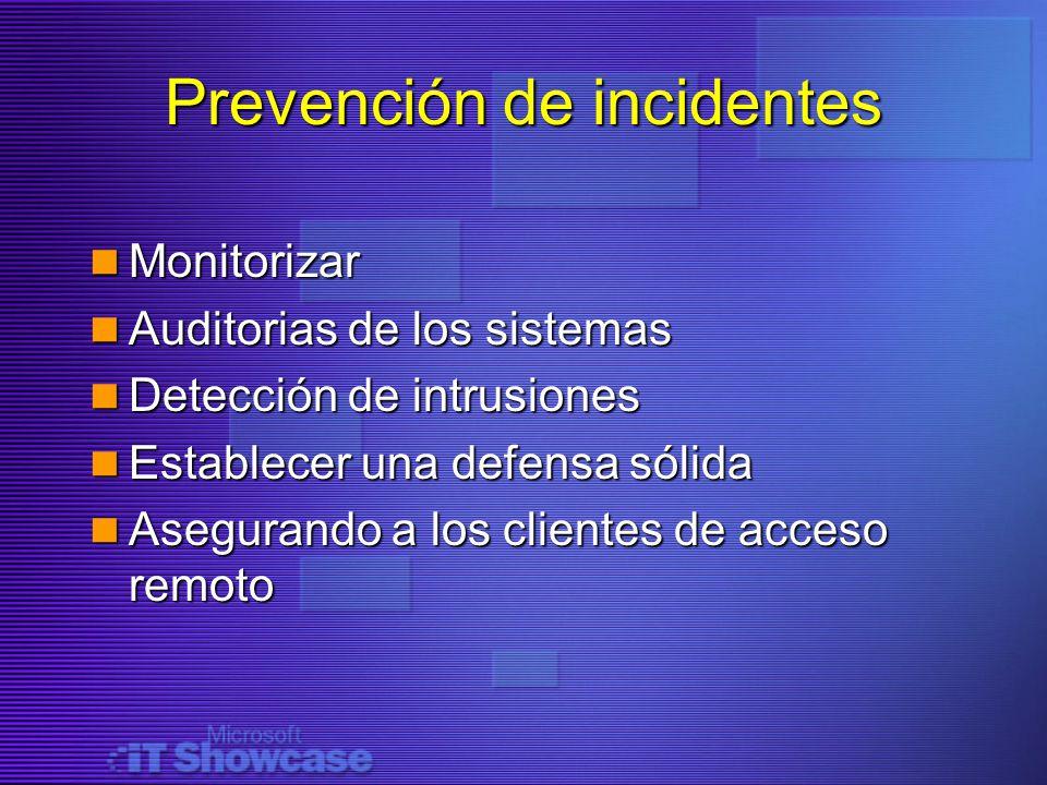 Prevención de incidentes Monitorizar Monitorizar Auditorias de los sistemas Auditorias de los sistemas Detección de intrusiones Detección de intrusion