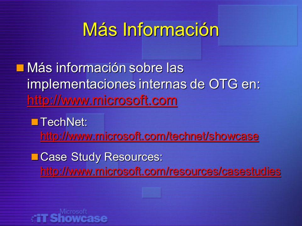 Más Información Más información sobre las implementaciones internas de OTG en: http://www.microsoft.com Más información sobre las implementaciones int