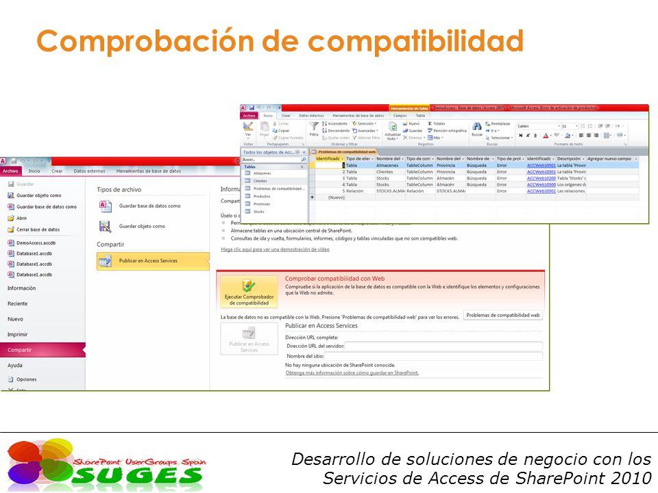 Desarrollo de soluciones de negocio con los Servicios de Access de SharePoint 2010 Comprobación de compatibilidad