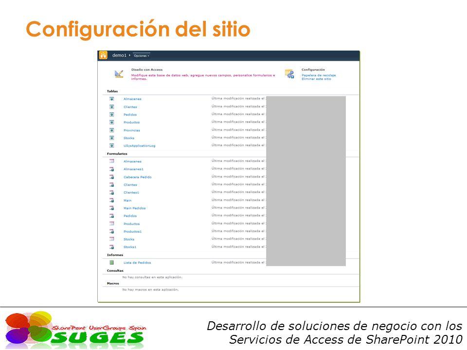 Desarrollo de soluciones de negocio con los Servicios de Access de SharePoint 2010 Configuración del sitio