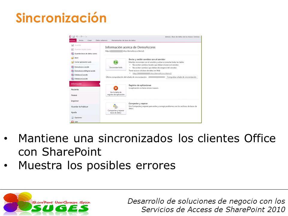 Desarrollo de soluciones de negocio con los Servicios de Access de SharePoint 2010 Sincronización Mantiene una sincronizados los clientes Office con SharePoint Muestra los posibles errores