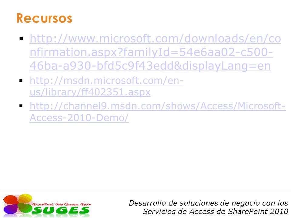 Desarrollo de soluciones de negocio con los Servicios de Access de SharePoint 2010 Recursos http://www.microsoft.com/downloads/en/co nfirmation.aspx?familyId=54e6aa02-c500- 46ba-a930-bfd5c9f43edd&displayLang=en http://www.microsoft.com/downloads/en/co nfirmation.aspx?familyId=54e6aa02-c500- 46ba-a930-bfd5c9f43edd&displayLang=en http://msdn.microsoft.com/en- us/library/ff402351.aspx http://msdn.microsoft.com/en- us/library/ff402351.aspx http://channel9.msdn.com/shows/Access/Microsoft- Access-2010-Demo/ http://channel9.msdn.com/shows/Access/Microsoft- Access-2010-Demo/