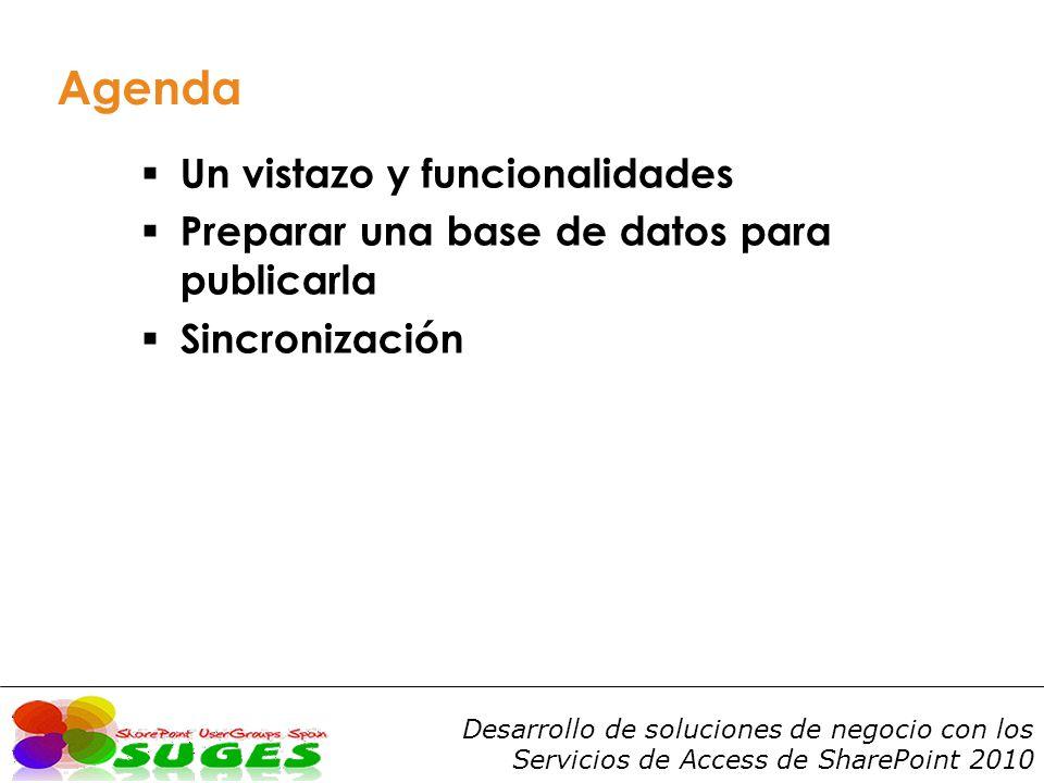 Agenda Un vistazo y funcionalidades Preparar una base de datos para publicarla Sincronización