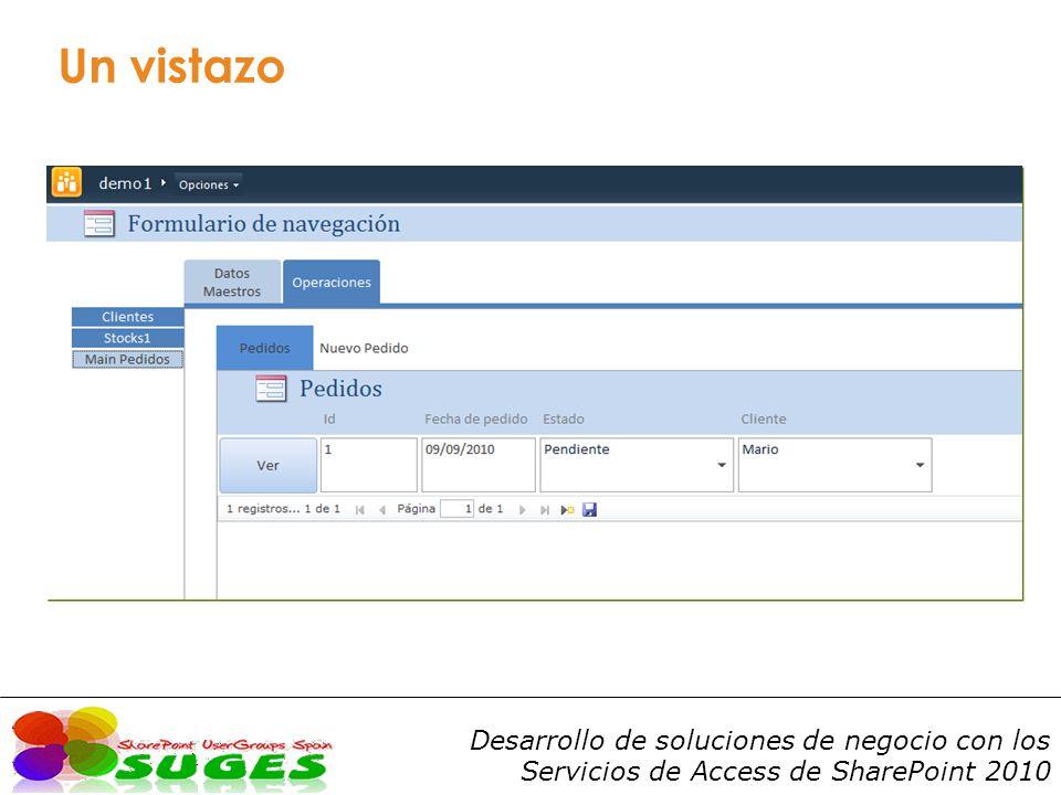 Desarrollo de soluciones de negocio con los Servicios de Access de SharePoint 2010 Características Permite compartir bases de datos Access y trabajar con sus elementos desde un entorno web o desde el cliente Office.