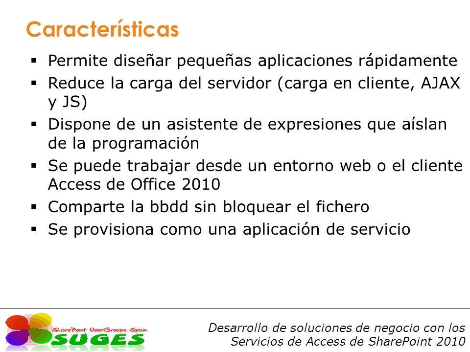 Desarrollo de soluciones de negocio con los Servicios de Access de SharePoint 2010 Versiones