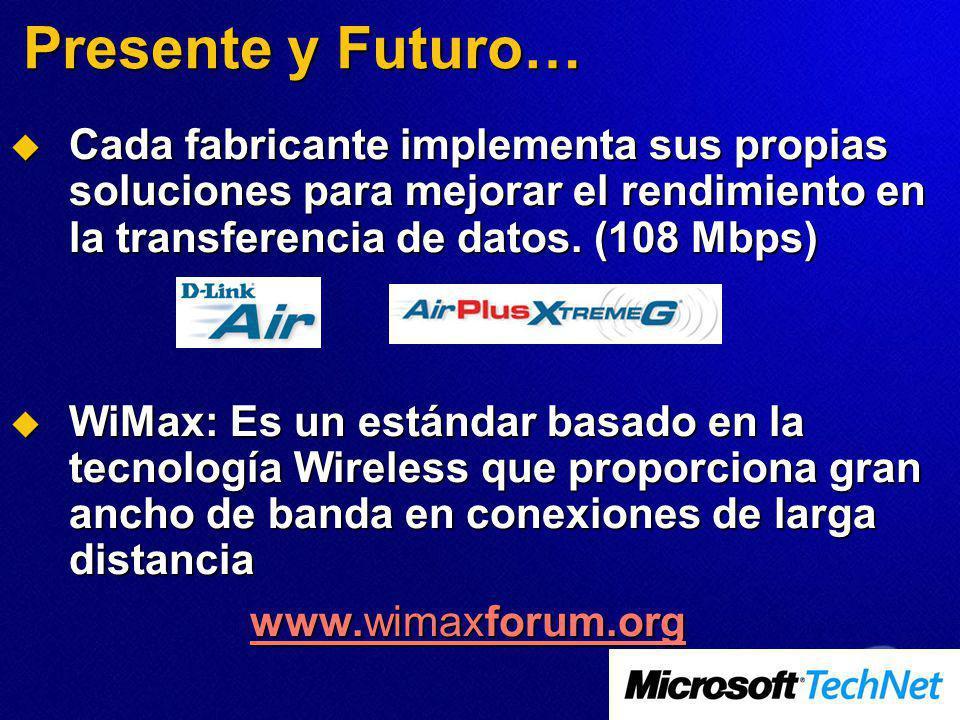 Presente y Futuro… Cada fabricante implementa sus propias soluciones para mejorar el rendimiento en la transferencia de datos. (108 Mbps) Cada fabrica