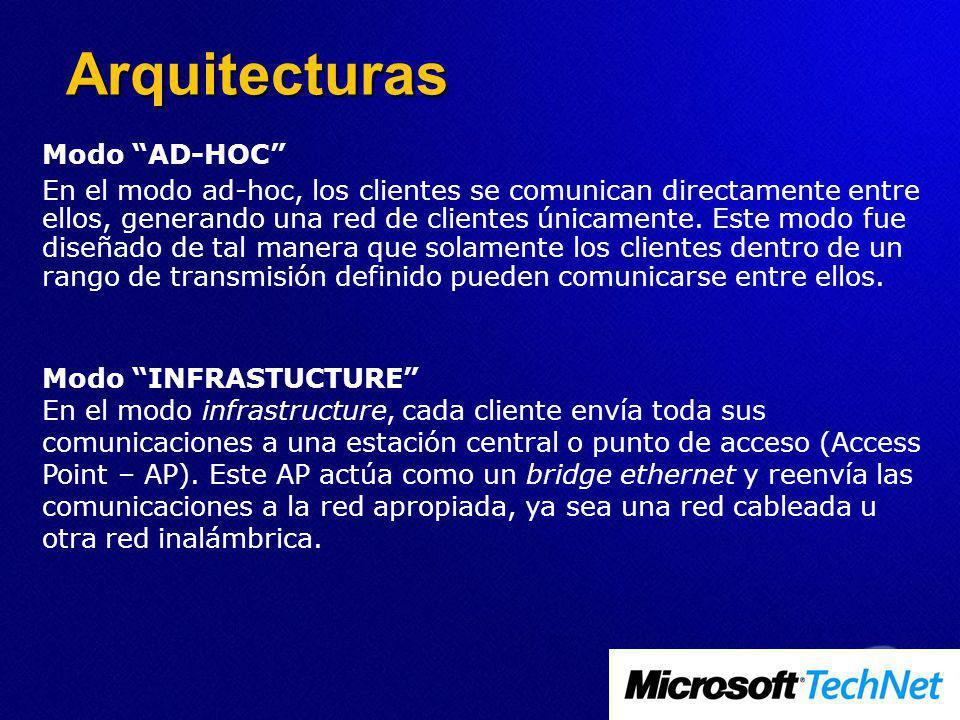 Modo AD-HOC En el modo ad-hoc, los clientes se comunican directamente entre ellos, generando una red de clientes únicamente. Este modo fue diseñado de