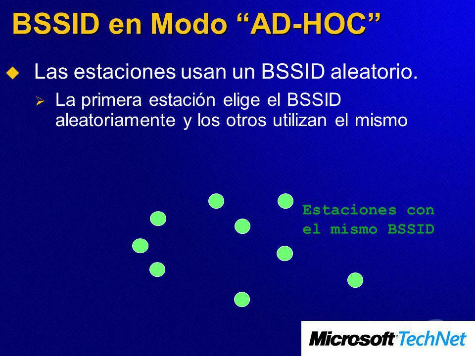 BSSID en Modo AD-HOC Las estaciones usan un BSSID aleatorio. La primera estación elige el BSSID aleatoriamente y los otros utilizan el mismo Estacione