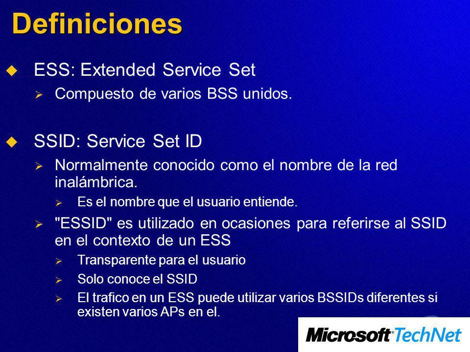 Definiciones ESS: Extended Service Set Compuesto de varios BSS unidos. SSID: Service Set ID Normalmente conocido como el nombre de la red inalámbrica.