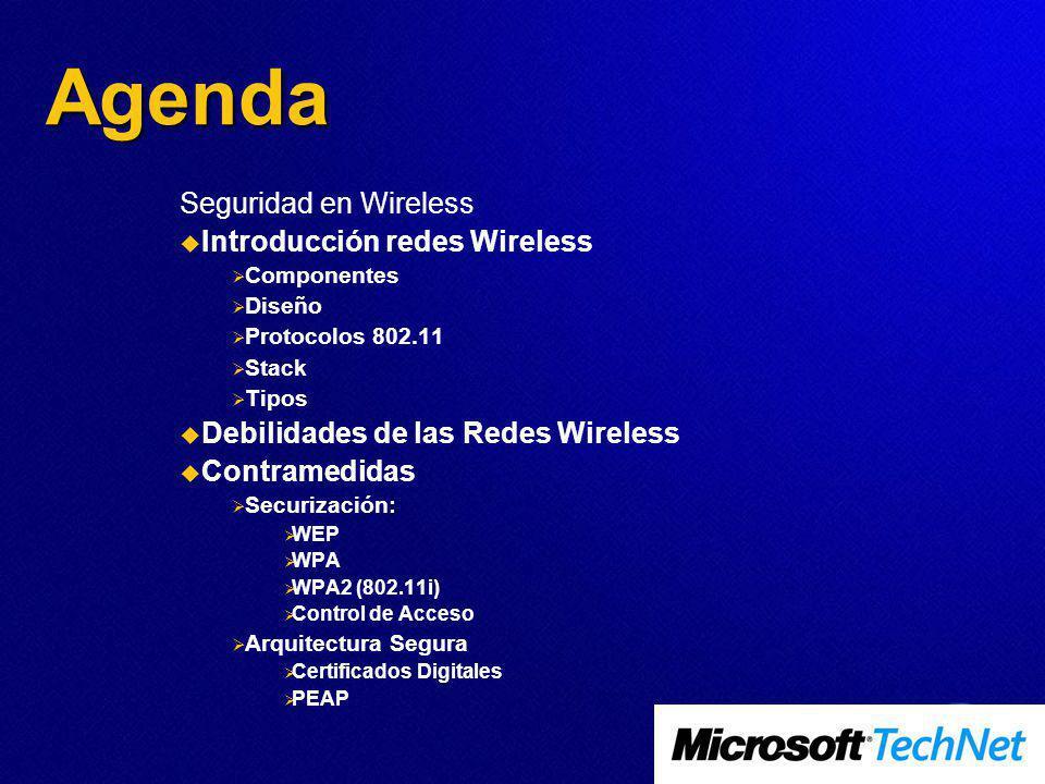 Agenda Seguridad en Wireless Introducción redes Wireless Componentes Diseño Protocolos 802.11 Stack Tipos Debilidades de las Redes Wireless Contramedidas Securización: WEP WPA WPA2 (802.11i) Control de Acceso Arquitectura Segura Certificados Digitales PEAP