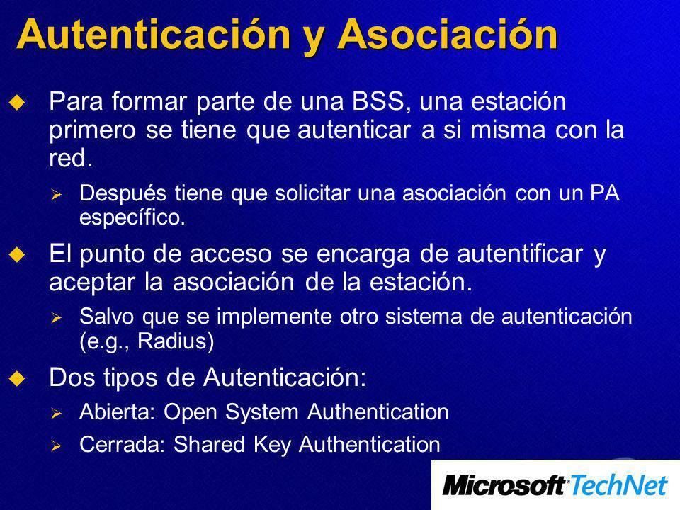 Autenticación y Asociación Para formar parte de una BSS, una estación primero se tiene que autenticar a si misma con la red. Después tiene que solicit