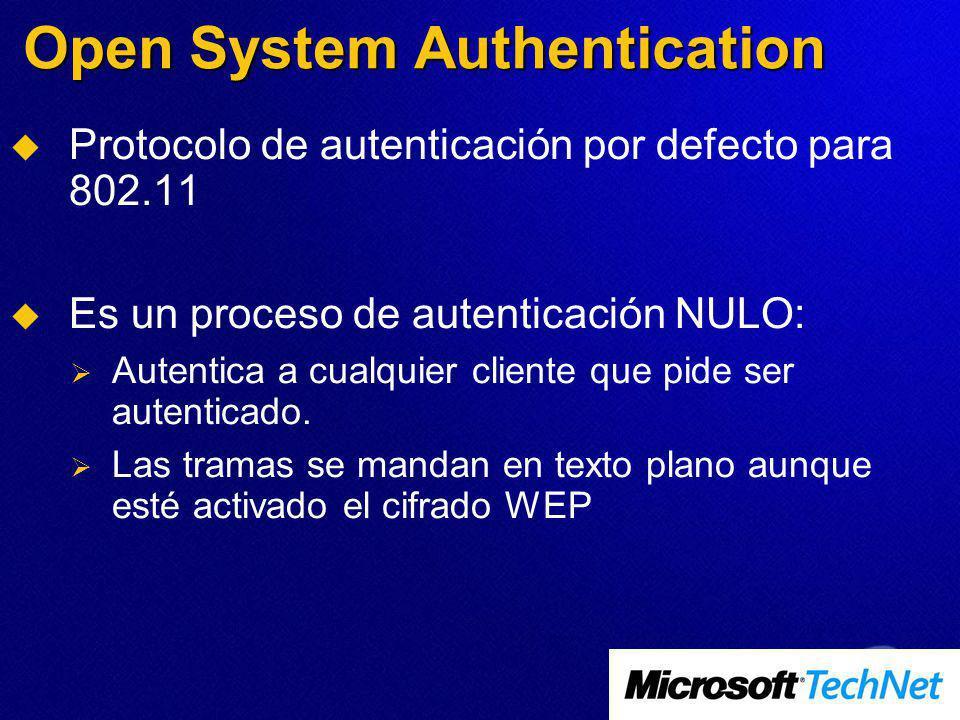 Open System Authentication Protocolo de autenticación por defecto para 802.11 Es un proceso de autenticación NULO: Autentica a cualquier cliente que pide ser autenticado.