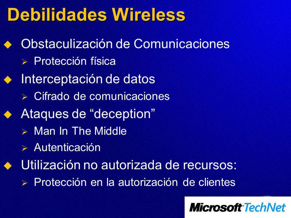 Debilidades Wireless Obstaculización de Comunicaciones Protección física Interceptación de datos Cifrado de comunicaciones Ataques de deception Man In The Middle Autenticación Utilización no autorizada de recursos: Protección en la autorización de clientes