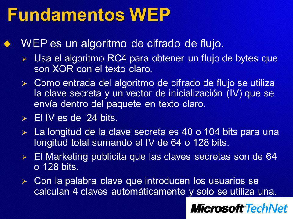 Fundamentos WEP WEP es un algoritmo de cifrado de flujo. Usa el algoritmo RC4 para obtener un flujo de bytes que son XOR con el texto claro. Como entr
